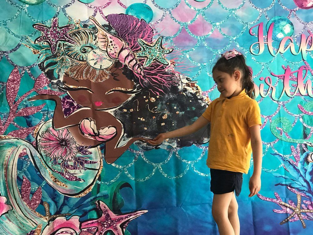 7x5FT Little Mermaid Corals Rocks Photo Studio Backdrop Background Vinyl Custom Banner Children Newborn for Happy Birthday Party Holiday Party Decorations Photo Backdrop Photography Background