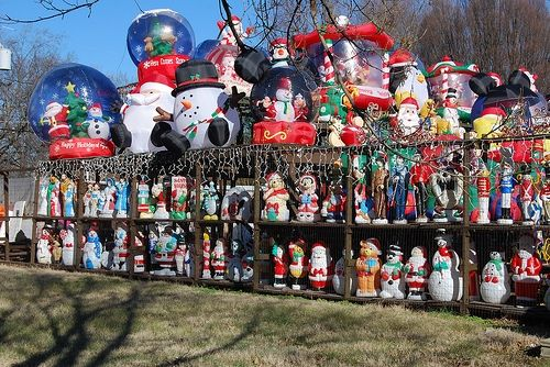 wowthis is a pretty impressive collection of christmas blow molds and inflatables - Vintage Christmas Blow Molds