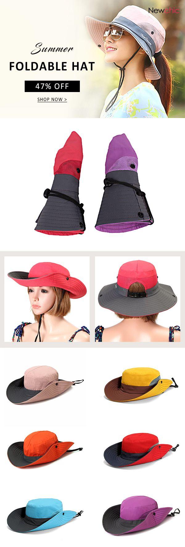 2f1895cbb47 Women Summer Foldable Mesh Breathable Anti-UV Fisherman Hat Outdoor Travel  Sunscreen Bucket Hat  hat  accessories