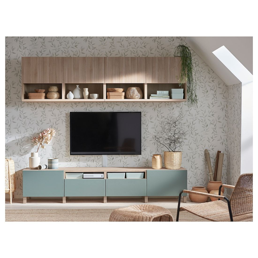 BestÅ Tv Storage Combination Walnut Effect Light Gray Lappviken Notviken Stubbarp Gray Green 94 1 2x16 1 2x90 1 2