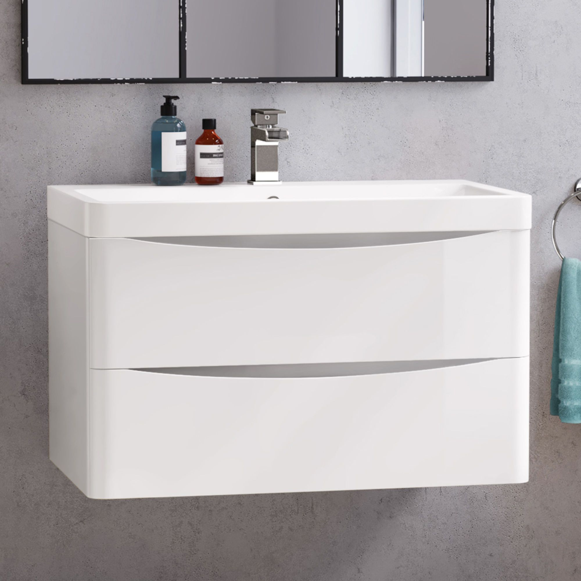 800mm Austin Ii Gloss White Built In Basin Drawer Unit Wall Hung Vanity Units Bathroom Furniture Storage Wall Hung Vanity