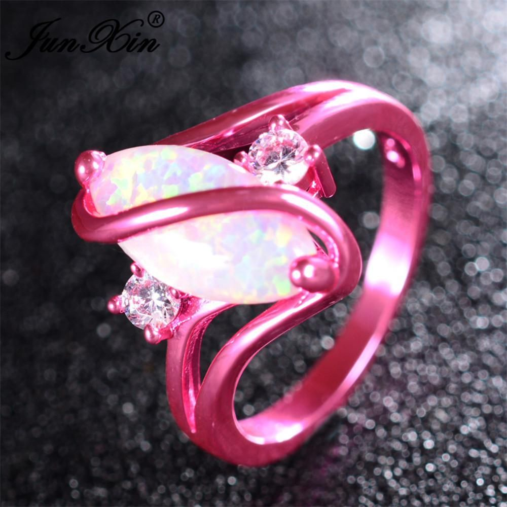 2017 Women White Fire Opal Ring Pink Gold Filled Jewelry Vintage ...