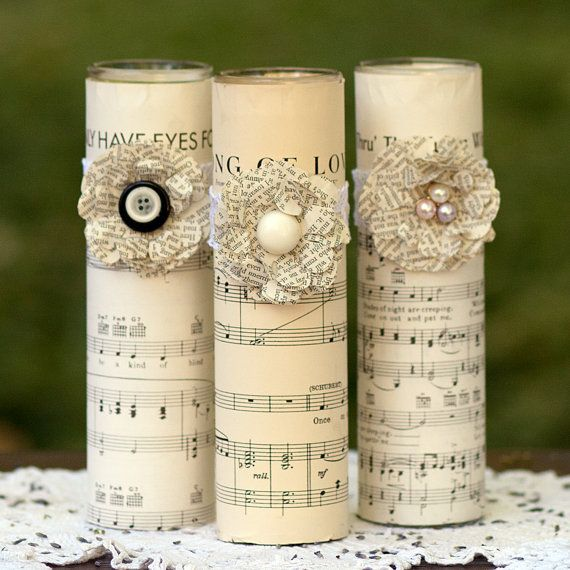 Pillar Candles Music Page Book Page Paper Flowers By DreamItCraft, Amazing Ideas