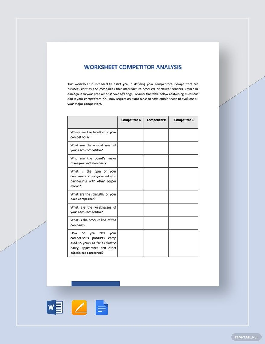 Worksheet Competitor Analysis Template Word Doc Google Docs Apple Mac Pages In 2020 Competitor Analysis Word Doc Analysis