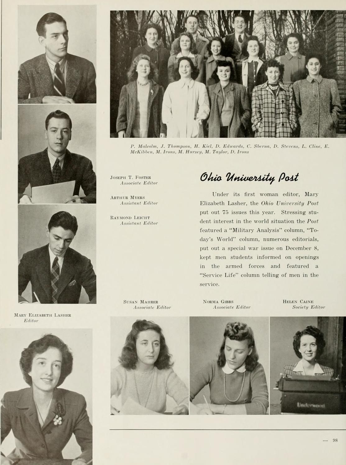 Athena yearbook, 1942  In 1941 Mary Elizabeth Lasher became