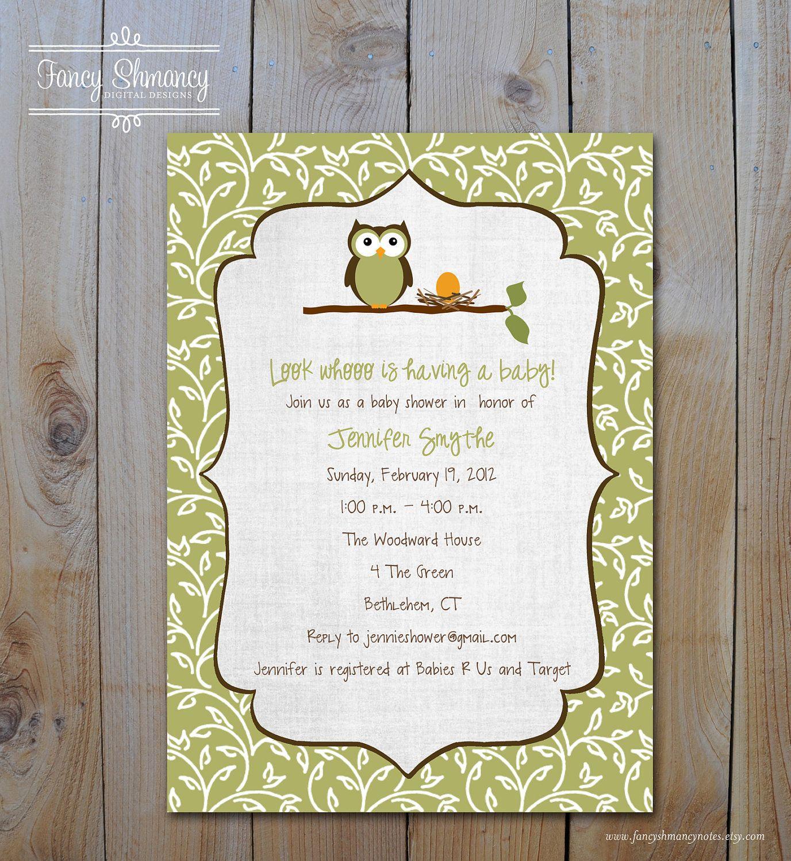 Fall Owl Baby Shower Gender Neutral Green Vine Baby Shower ...