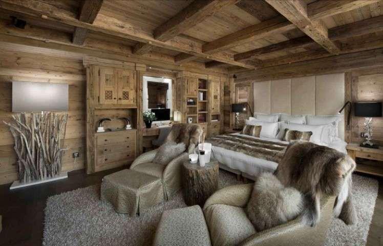 Arredare uno chalet di montagna camera da letto in stile rustico stile rustico chalet e rustico - Camera da letto rustica moderna ...
