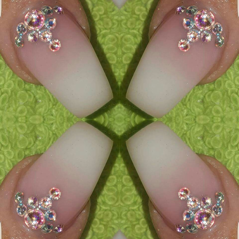 Gel nails Faded french Baby boomer Swarovski crystals Stunning nails ...