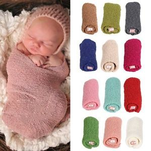 Newborn Baby Kids Stretch Knit Wrap Nubble Wraps Cozy Photography Props 40*150cm