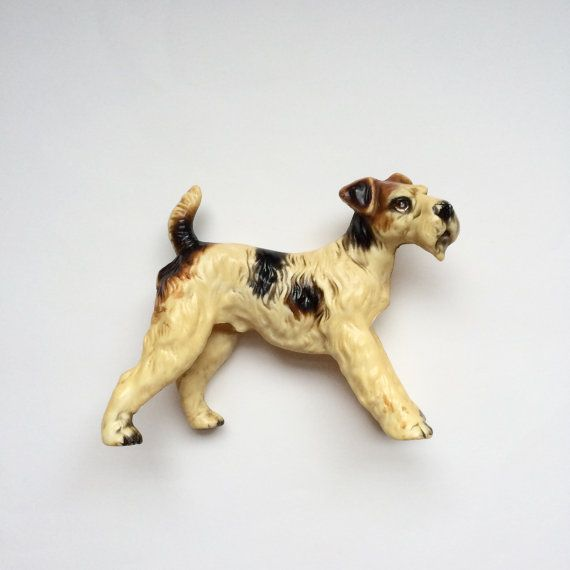 Large Vintage Bakelite Celluloid Plastic Terrier Dog Figurine By