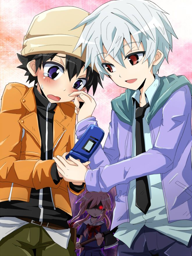 Akise x yukki (Yuno in the background holding a knife