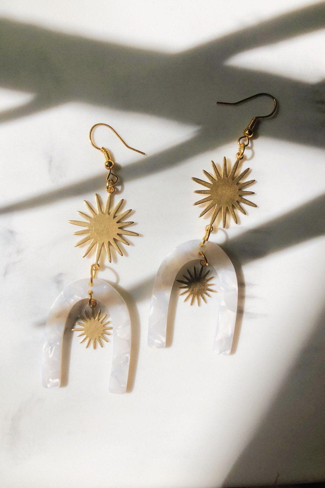 Sun Beams Modern Statement Handmade Brass and Acrylic