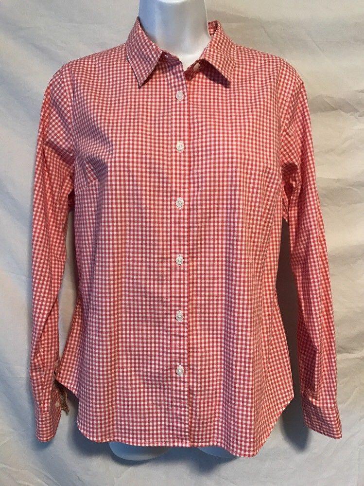 4296f885061e88 L.L. Bean Women Small Pink White Gingham Checkered Button Down Shirt Cotton