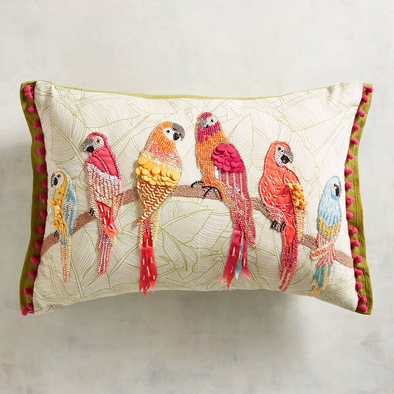 Pier 1 Imports Throw Pillow Embroidered Parrots Cream Tropical 18 x 18 New