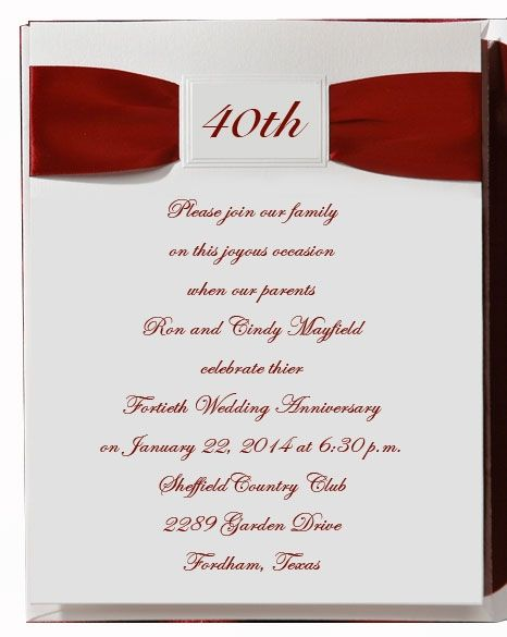 40th Wedding Anniversary Napkins 20wedding 20anniversary 20invitations 20with 20ribbon