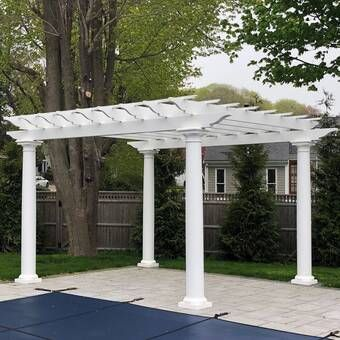 Madison 14 Ft W X 10 Ft D Solid Wood Pergola In 2020 Vinyl Pergola Wood Pergola Outdoor Pergola