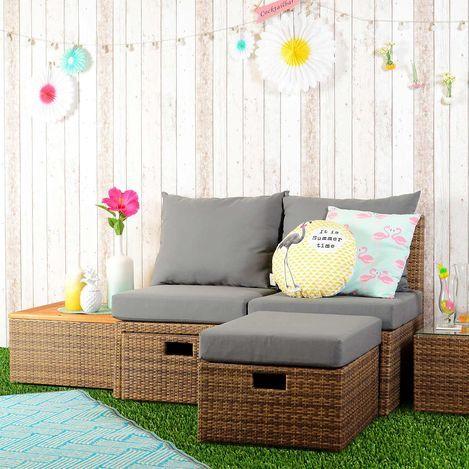 Loungemöbel Set Für Balkon Und Garten, Aus Polyrattan, Inkl Kissen, 5tlg,