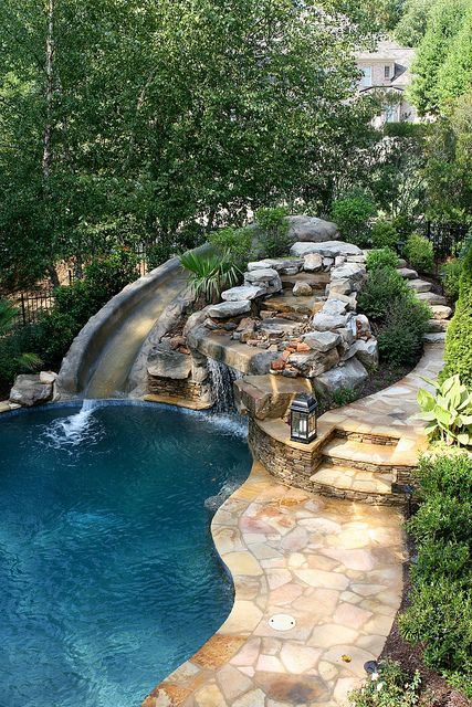 pool with slide waterfall grotto cave ideas pinterest haus garten und teich. Black Bedroom Furniture Sets. Home Design Ideas