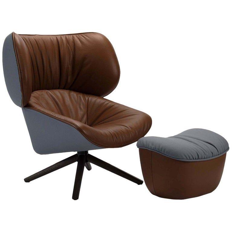 B B Italia Swivel Chair Tan Light Tabano Ottoman Italian Modern Leather Fabric In 2020 Chair Ottoman Chair Furniture