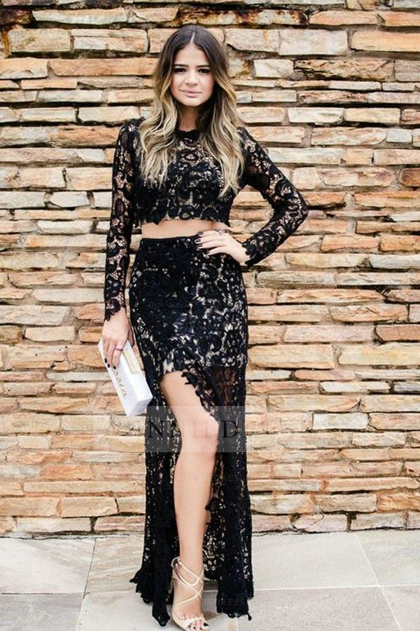 Long sleeve crop top lace dress