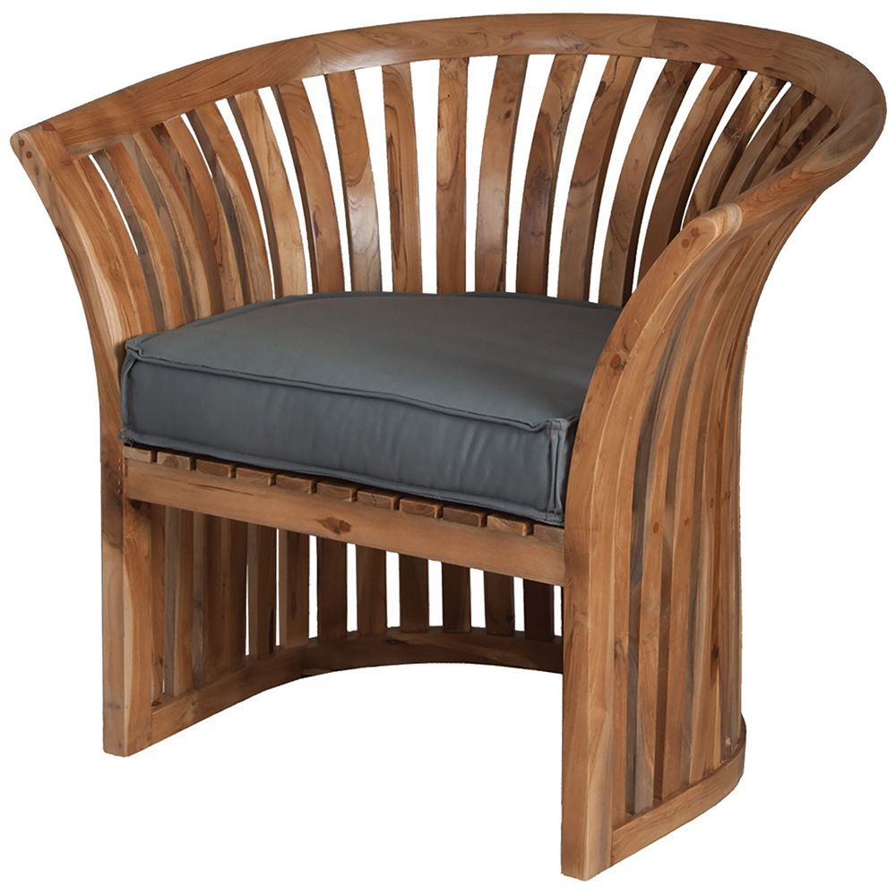 Curved teak barrel chair european oil finish