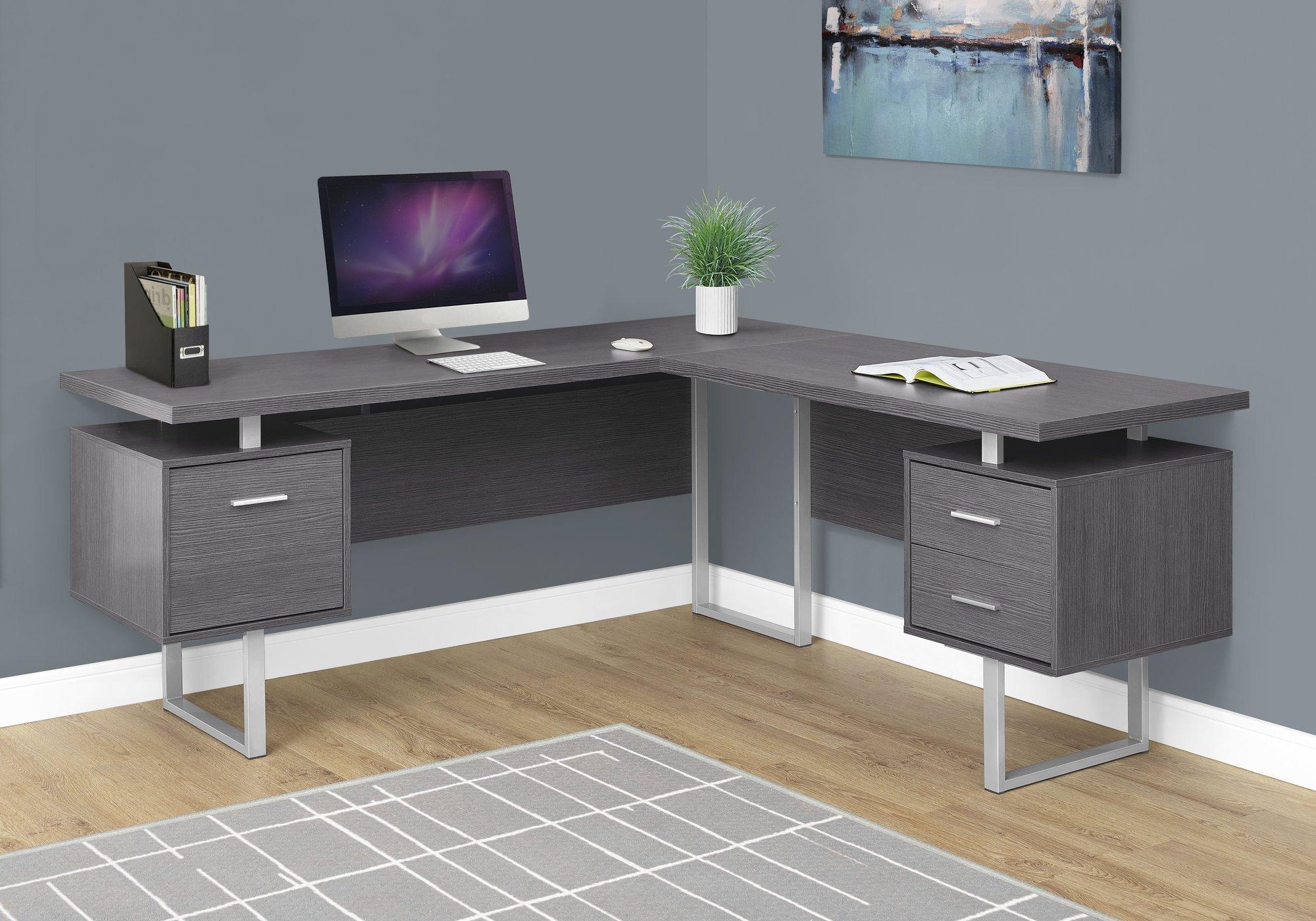 71 Grey Left Right Facing Corner Desk W Drawers In 2020 Contemporary Computer Desk Grey Desk Computer Desk
