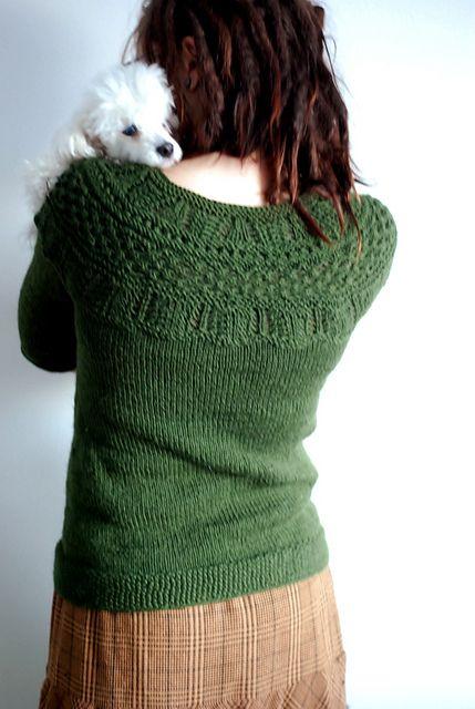 Raglan Sleeve and Lace Yoke Sweater Knit Pattern ...