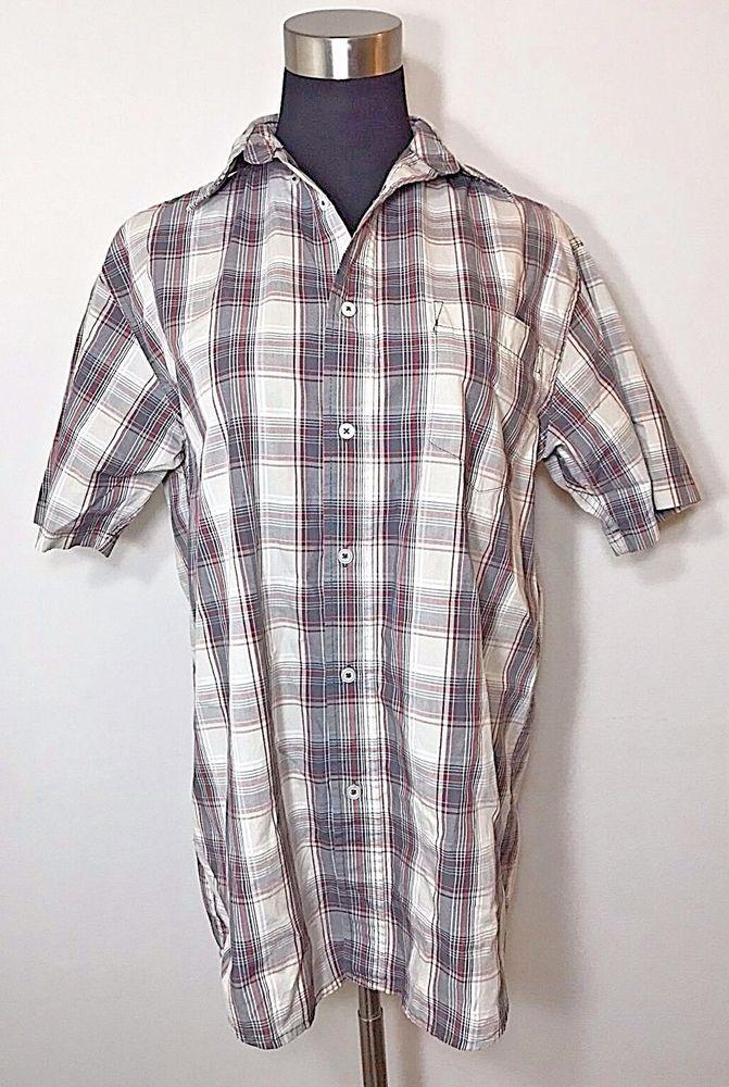 280647fa Wrangler Hero Plaid Button Down Shirt Mens Size S Grey Red White Short  Sleeve #Wrangler #ButtonFront