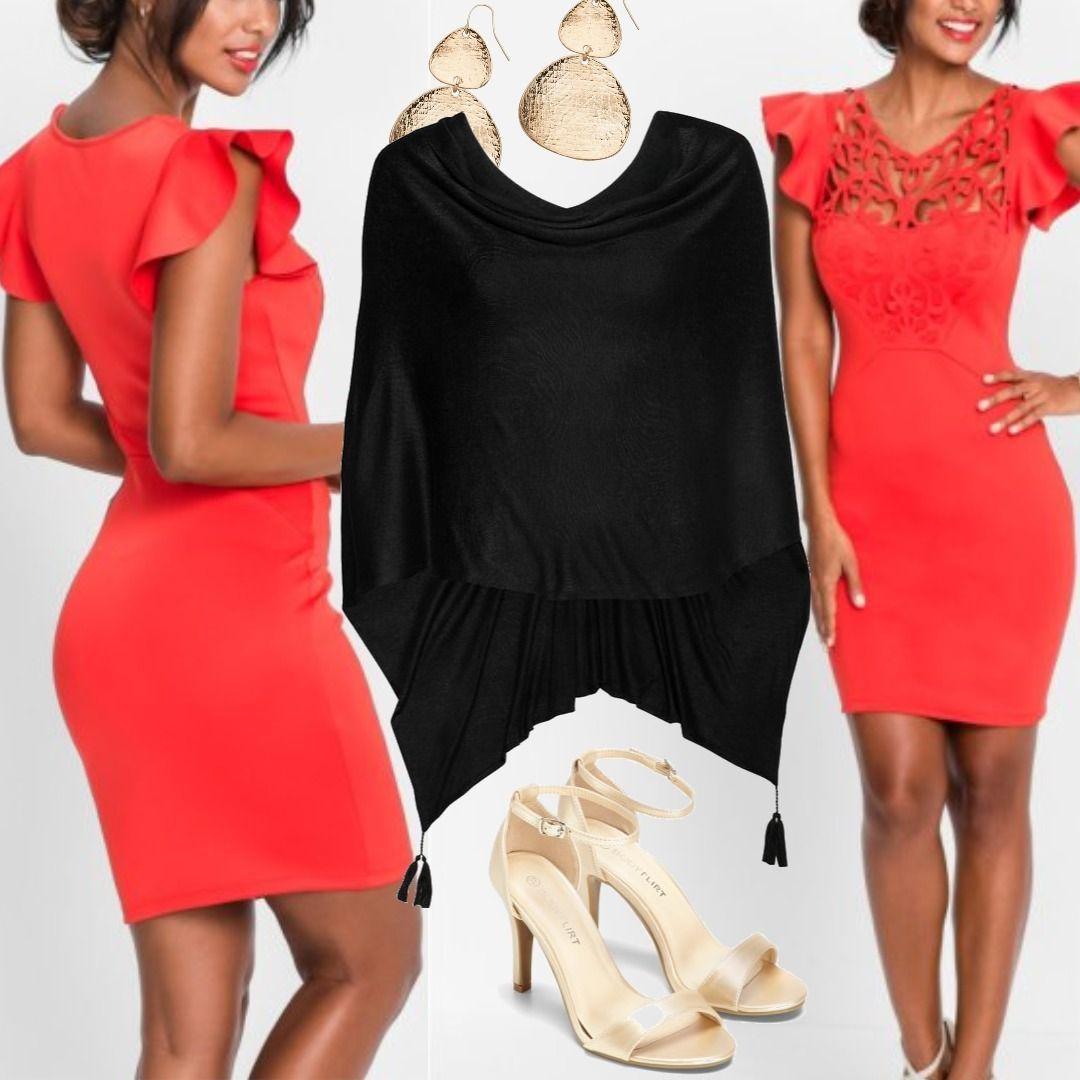 06f73353dc19ea Kleid mit Cut-Outs Flügelärmel in rot Bonprix Outfit für Damen zum  Nachshoppen auf Stylaholic