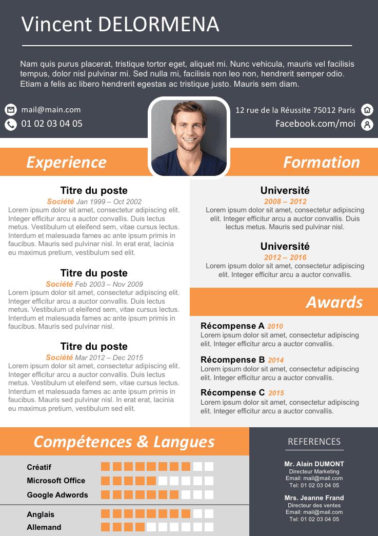 Exemple de CV moderne et original gratuit à télécharger