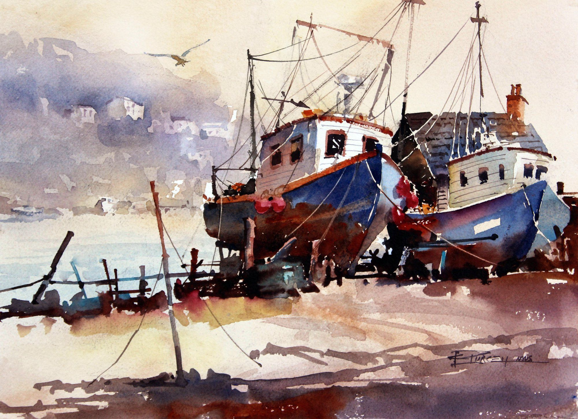 Carl Purcell Polperro England Watercolor Artwork Boat Art