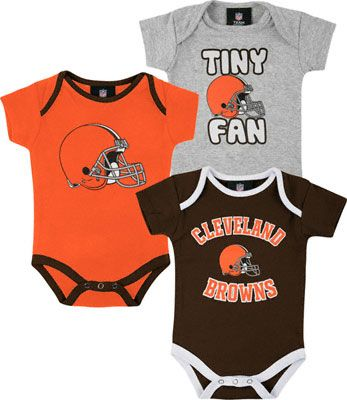 Cleveland Browns Official NFL Boys  Infant Toddler 3 Piece Creeper Bodysuit New