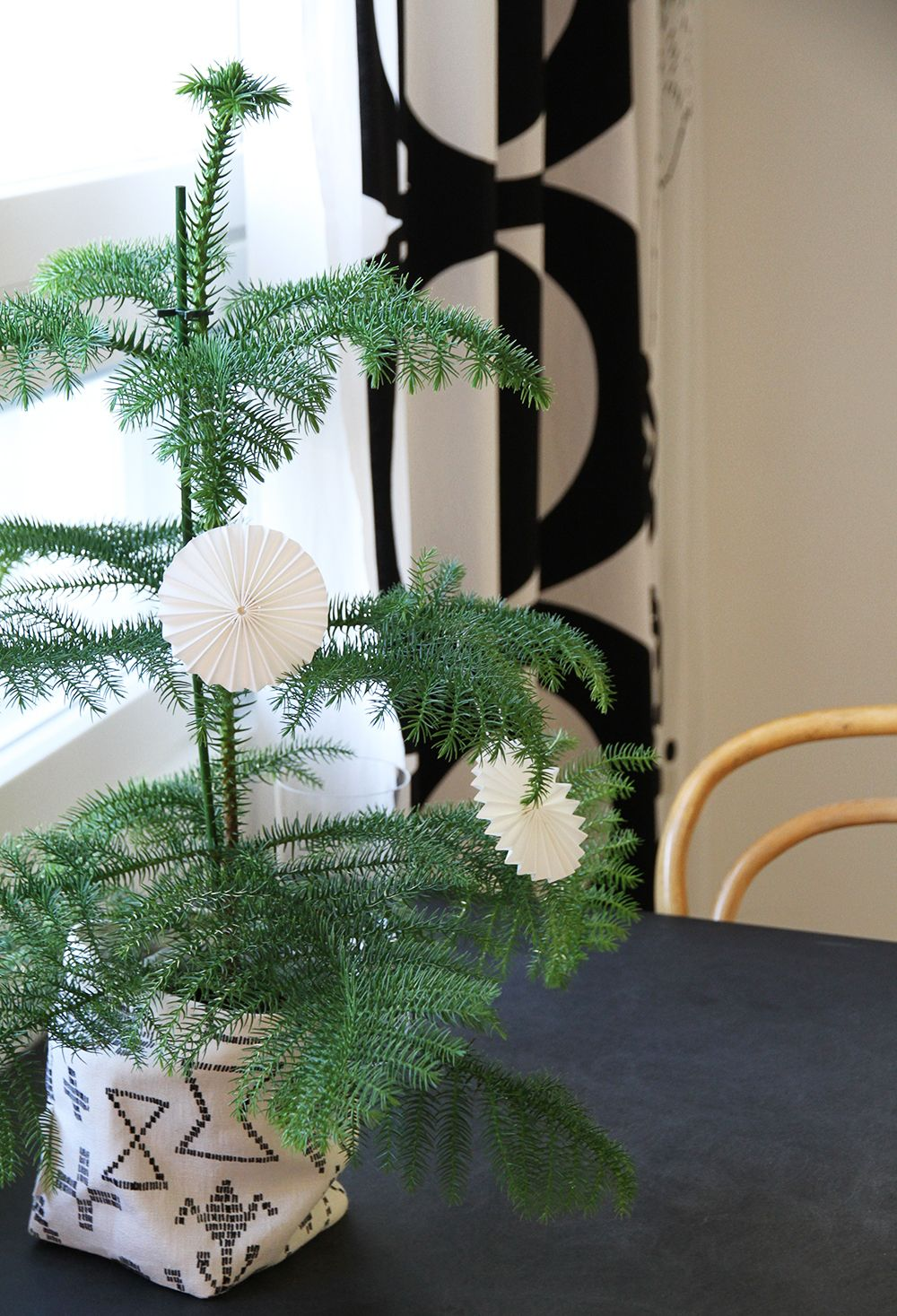 White paper ornaments.