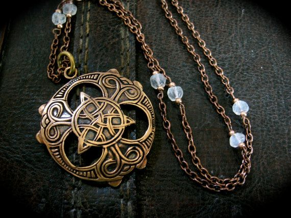 Celtic Triquetra Shield Necklace by EireCrescent on Etsy, $39.99