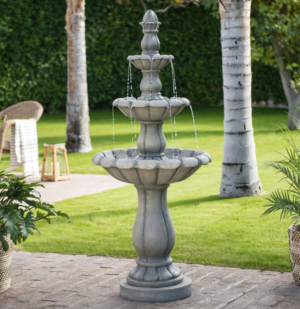 Outdoor Tiered Fountain Tall 60 Inch Large 3 Tier Cascading Waterfall Garden Use Gardenfountain Fountains Outdoor Large Outdoor Fountains Outdoor Fountain