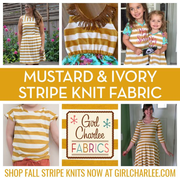 Girl Charlee Fabrics Original Mustard and Ivory Stripe Jersey Knit is perfect for all of your Fall sewing including dresses, cardigans, rompers, and sew much more! Shop this stylish stripe with other Girl Charlee classics today!