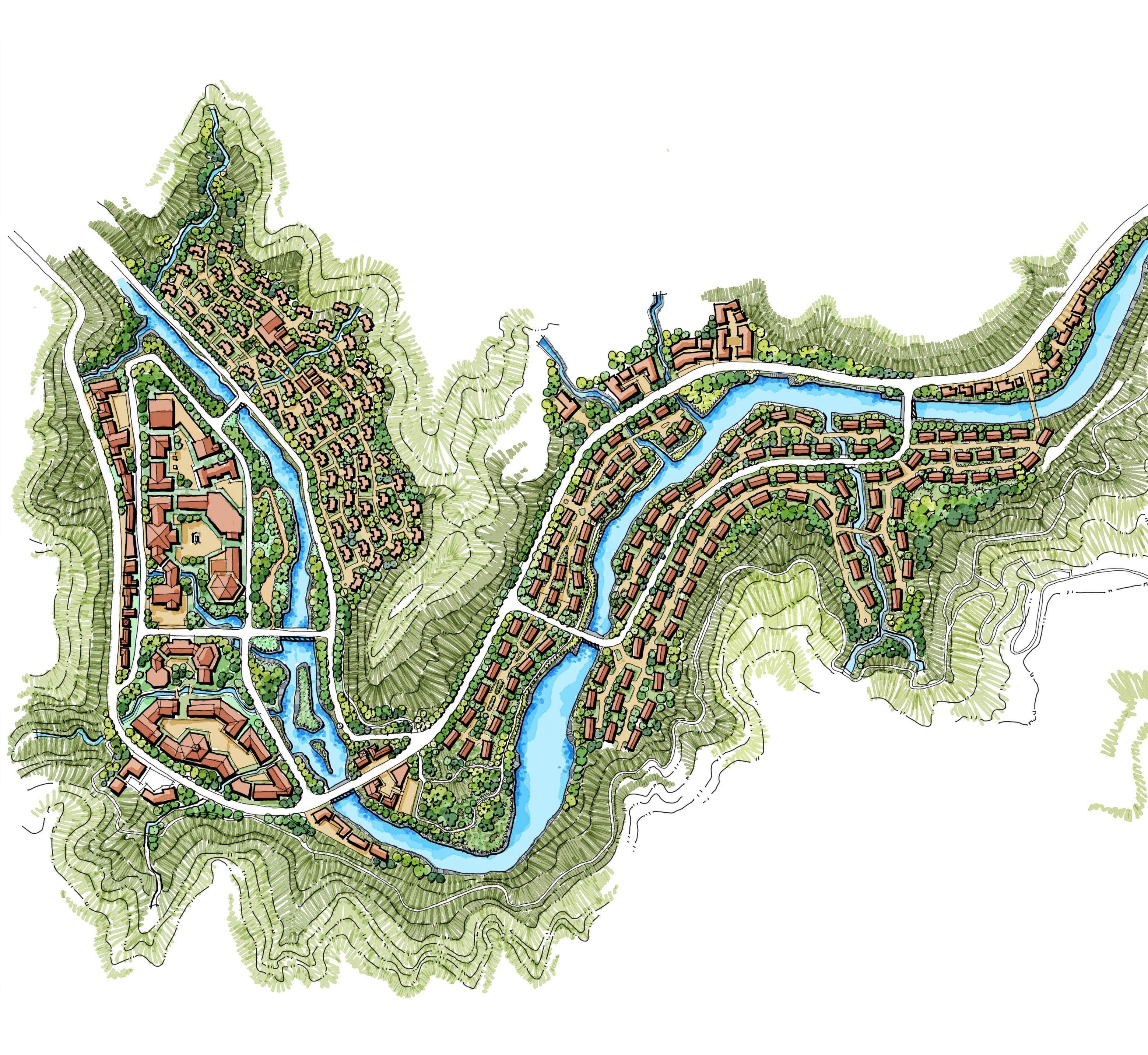 Master Plan Drawings: Mountain Villas, Mountain Landscape, Mix Use, China Houses