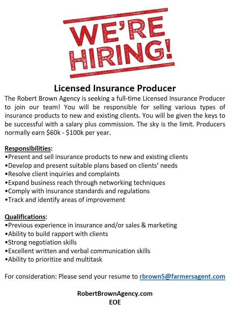 Pin by Farmers Insurance Robert Bro on Help Wanted
