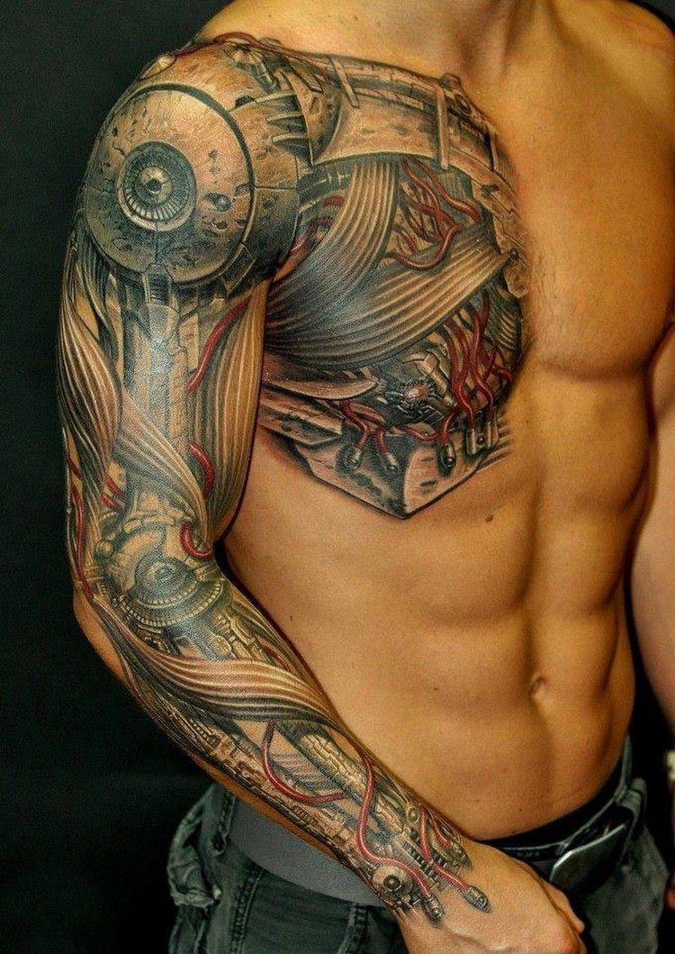 Biomechanik Tattoo Ganzer Arm Brust Kabel Getriebe Tattoo