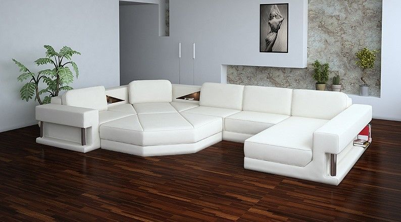 Divani Casa 2315 Sectional Sofa Modern White Leather Durable and sturdy construction Can be special Ordered in other colors and chaise direction : white leather sofa with chaise - Sectionals, Sofas & Couches