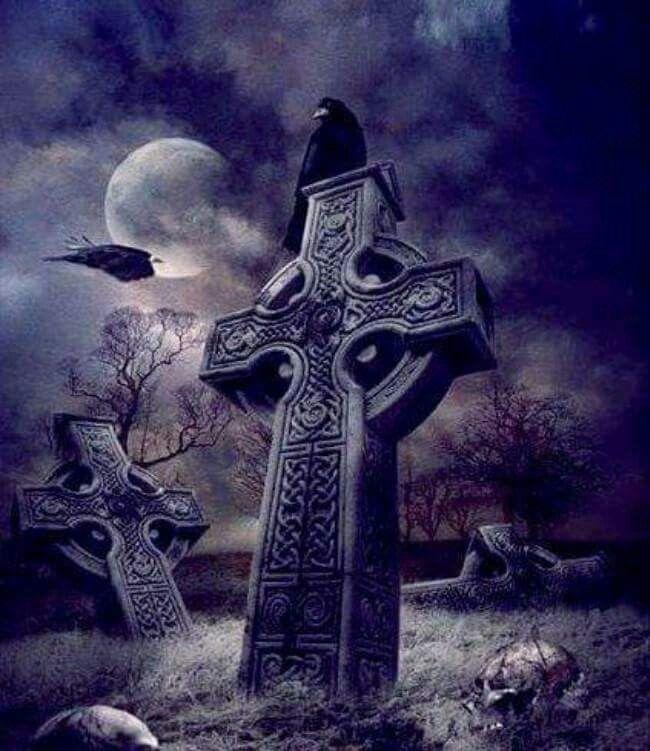 Cemeterycemetery Halloween Silhouetten Friedhof 1