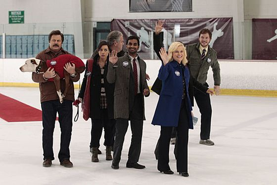 Parks and Rec on ice! I laughed so hard I almost liz'ed.
