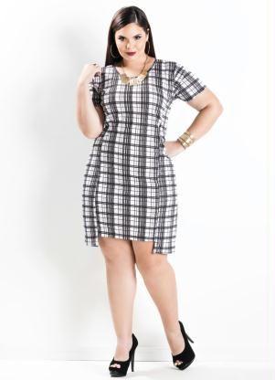 dc63e5919 Vestido Assimétrico (Xadrez) Plus Size