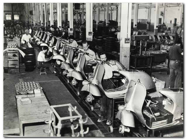 The Vespa factory in Italy (early 1950s)