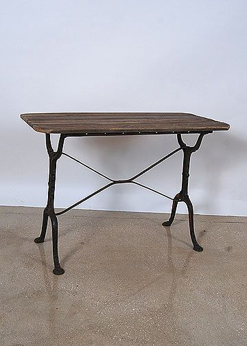 French Vintage Wood Top Cast Iron Base Bistro Table