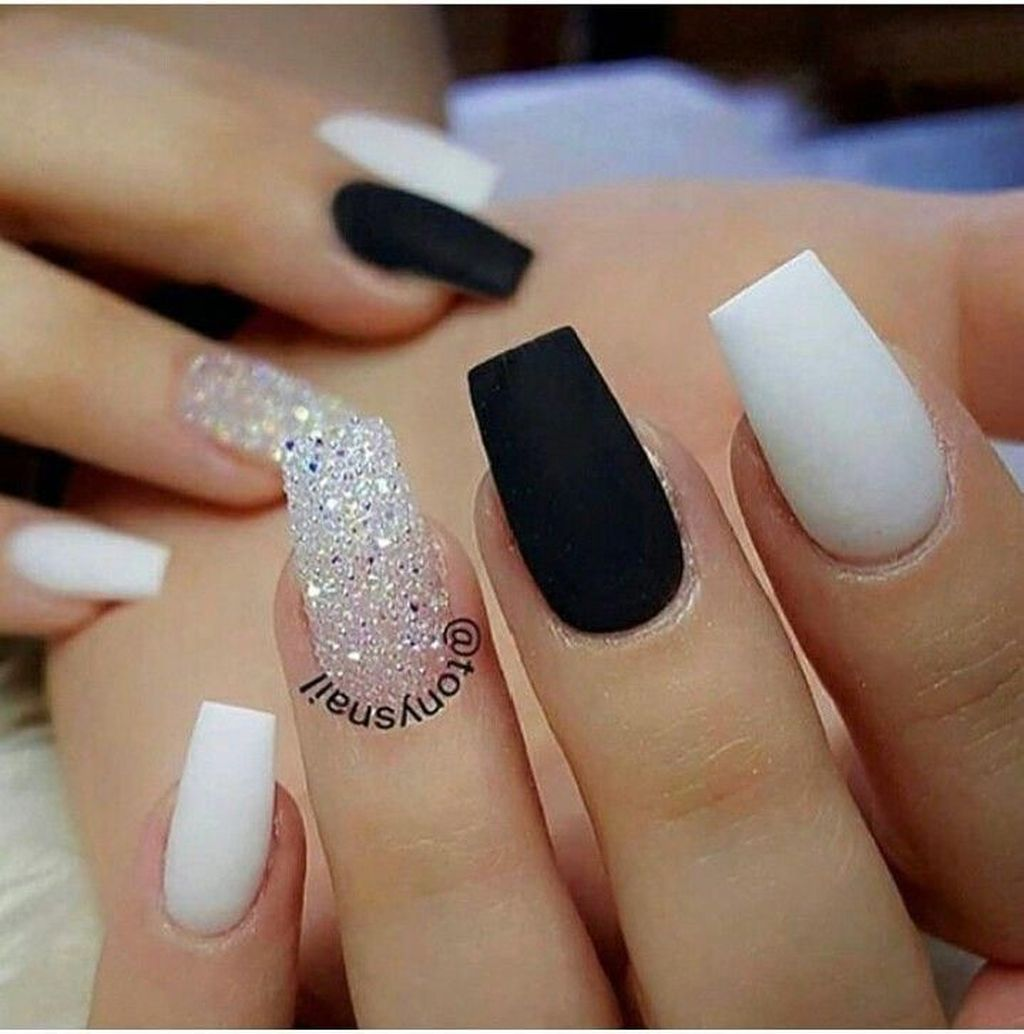 30 Extraordinary Black White Nail Designs Ideas Just For You Cute Acrylic Nails Trendy Nails Gel Nails
