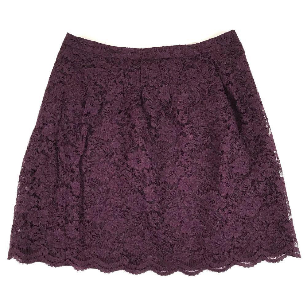 Ann Taylor Loft Womens Skirt Purple Lace Lined Side Zip A-Line Size 2