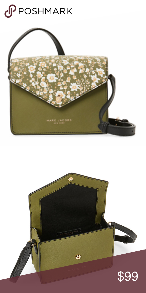 db571e1403b96 MARC JACOBS Avocado Multi Floral Leather Crossbody Brand new with tags,  Authentic MARC JACOBS Avocado