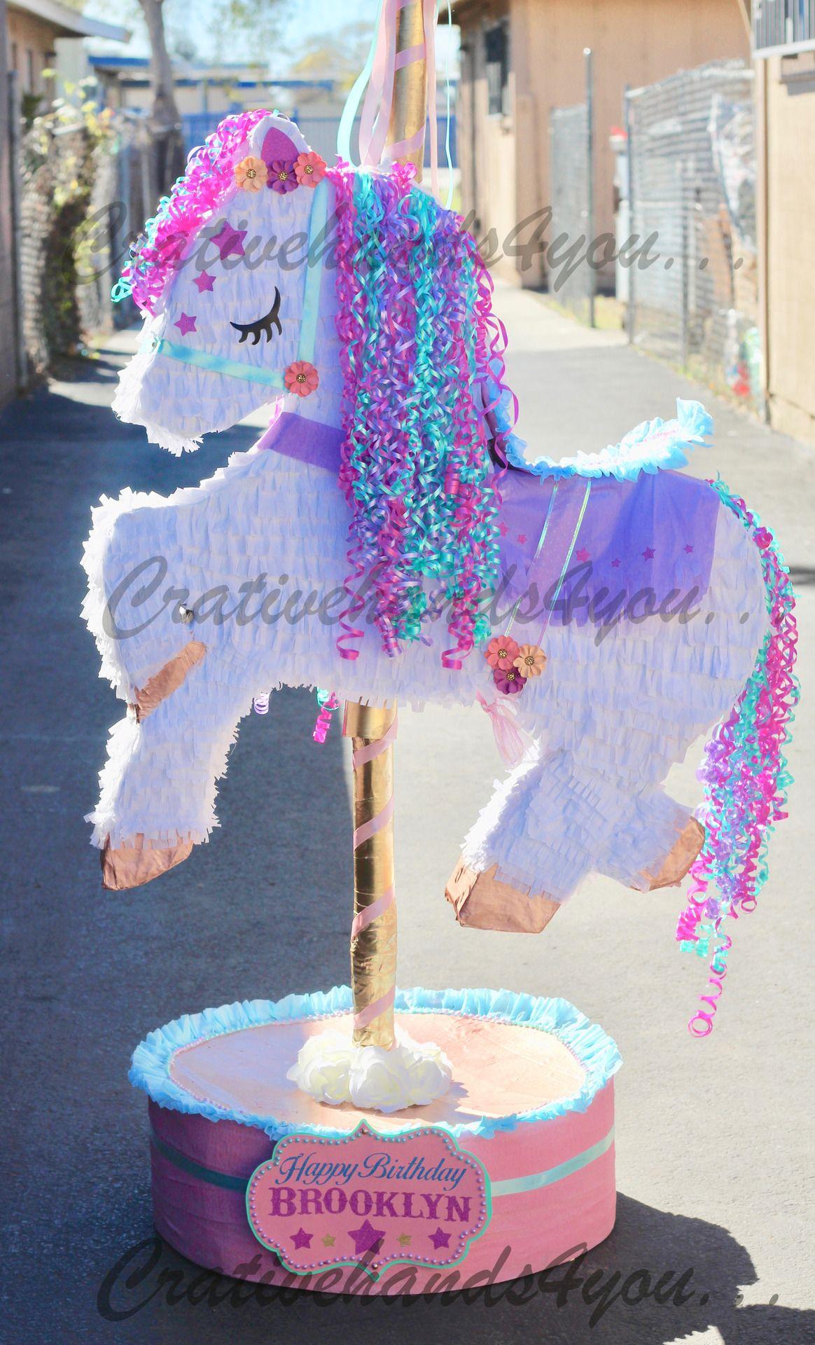 Pi atas carousel horse pi ata by creativehandsforyou pi s in 2019 cumplea os unicornio - Pinatas de cumpleanos ...