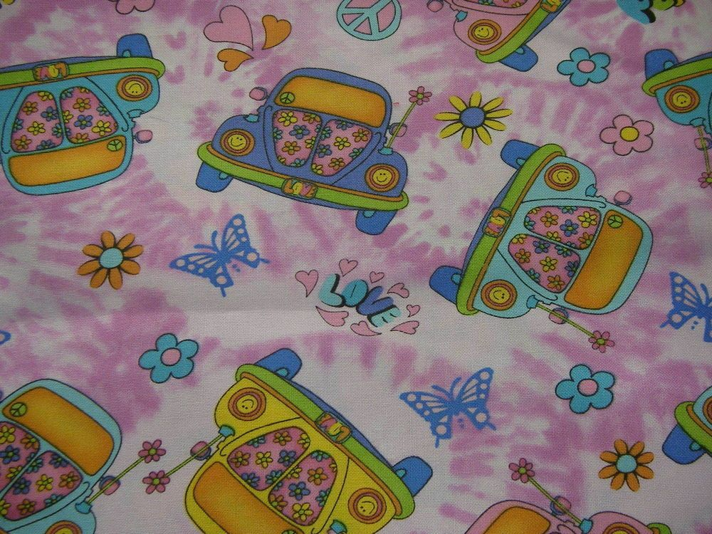 Volkswagon Cars Peace Signs  Love Butterfilies Fabric  On Pink / BTFQ #Hifashion